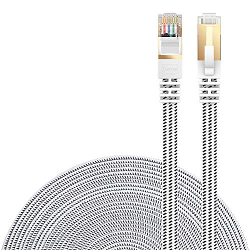 Cat 7 Ethernet Cable, DanYee Nylon CAT7 High Speed Professional Gold Plated Plug STP Wires CAT 7 RJ45 Ethernet Cable 3FT 10FT 15FT 26FT 50FT 66FT 100FT (White 10 ft)