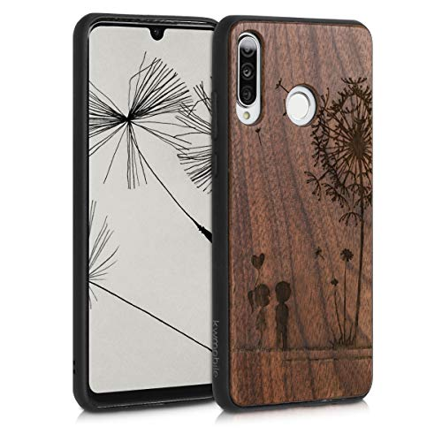 kwmobile Holz Schutzhülle für Huawei P30 Lite - Hardcase Hülle mit TPU Bumper Walnussholz in Pusteblume Love Design Dunkelbraun - Handy Case Cover