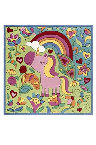 Doodle-Carpet Kuschelig weicher Lovely Unicorn Kinder Teppich mit süßem Einhorn, handgefertigt, quadratisch (150 x 150 cm)