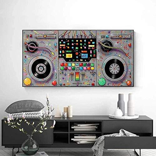HHLSS Imagen de Cartel 70x140cm sin Marco Graffiti Abstracto Arte Lienzo Pintura Colorido CD Reproductor de Discos Carteles Impresiones Pared Arte Imagen decoración del hogar