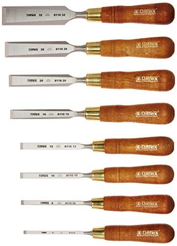 Narex (Made in Czech Republic) Premium 8 pc set 6 (1 4 ), 8 (5 16 ), 10 (3 8 ) 12 (1 2 ), 16 (5 8 ) 20 (11 16 ) , 26 (1  1 16 ), 32 (1 1 4 ) mm Chisels w  Hornbeam Handles
