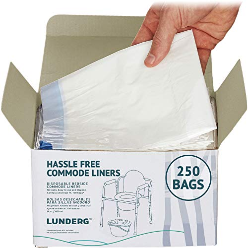 Lunderg Commode Liners - Value Pack 250 Count Universal Fit - Medical Grade Bedside Commode Liners Disposable for Adult Commode Chair, Portable Toilet Bags or Camping Toilet Bags