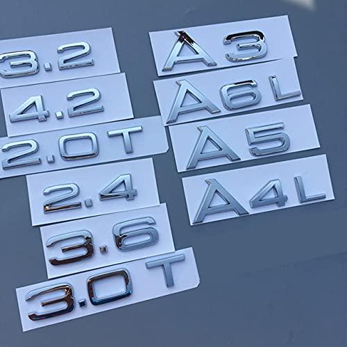 Embleme Briefnummer Emblem für Audi 1.8T 2.0T 2.4 3,0 t 3.2 4.2 A3 A4 A5 A6L A7 A8L Q3 Q5 Q7 Q8 CAR TREASIEREN TRAUNCH BACKGE Logo Aufkleber Applikationen (Color Name : Chrome, Style : 2.0T)