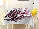 L'sWOW Home Decor Square Tablecloth Butterflies Fairy Female Eye with Butterflies Eyelashes Mascara Stare Party Makeup Pale Pink Purple Tablecloth 54 x 54 Inch