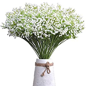 Emo Artificial Flowers Plastic Babys Breath Gypsophila Bouquets Bundle Real Touch White Blooms Fake Plants Wedding Bouquet Indoor Outdoor Home Kitchen Office Christmas Wedding Décor