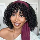 Nadula Headband Curly Wigs with Bangs Short Bob 10A Brazilian Human Hair 150% Density 2 In 1 Glueless Protective Hairstyle Wig for Black Women Natural Color 14 Inch
