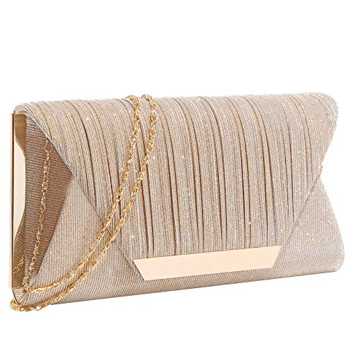 Glitter Clutch Purses for Women Evening Bags and Cluthes Flap Envelope Handbags Formal Wedding Party Prom Purse (A-Champagne)