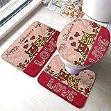 GABRI Juego de alfombras de baño de 3 Piezas para el día de San Valentín Búhos Enamorados Estampado de Parejas Lindas Parejas Corazones de Estilo Boho Flores Conjunto de alfombras de baño de Puntos
