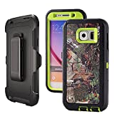 Galaxy S6,Harsel Heavy Duty Shockproof 3-Layer Military Outdoor Sport Rubber Camouflage Wood Design