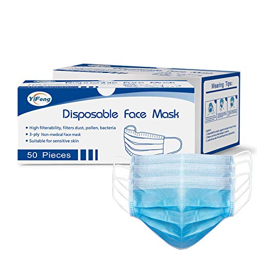 50pcs Disposable Face Masks, 3 Ply Safety Masks with Elastic Earloops and Adjustable Nose-bridge, Blue Breathable Mouth Masks for Protection against Air Pollution, Dust, Pollen