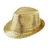 Widmann 9067D - Hut Fedora, Gold, Hut mit Pailletten, Kopfbedeckung, Mottoparty, Karneval