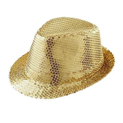Widmann 9067D – Fedora Hut mit Pailletten, gold, Accessoire, Kostümzubehör, Kopfbedeckung, Showgirl, Gentlemen, Silvester, Motto Party, Karneval