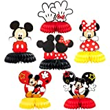 Mickey Minnie Honeycomb Centerpieces, 6 Pcs Table Topper for Birthday Party Decoration, Double Sided Cake Topper Party Favor, Party Supplies for Kids, Photo Booth Props