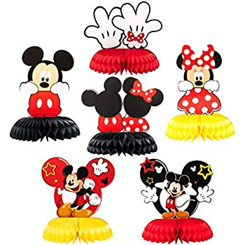 Mickey Minnie Honeycomb Centerpieces 6 Pcs Table Topper for Birthday Party Decoration Double Sided Cake Topper Party Favor Party Supplies for Kids Photo Booth Props