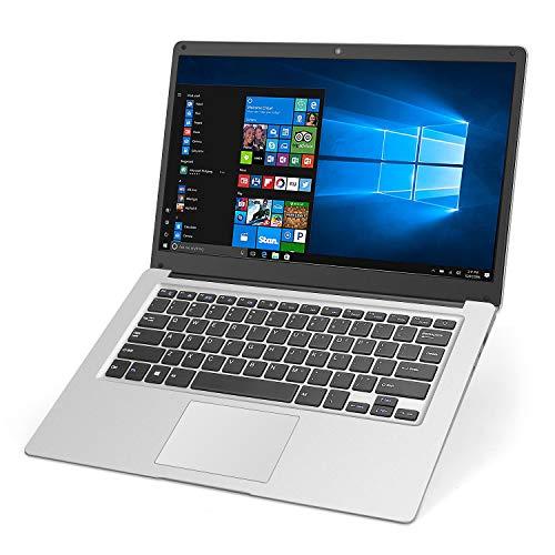 Laptop 14 inch Notebook YELLYOUTH Intel Quad Core 8GB RAM 128GB Storage HD Display Windows 10 Laptop Computer with WiFi Mini HDMI Silver