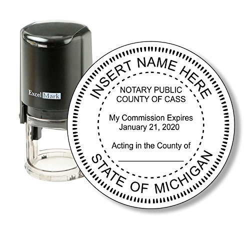 ExcelMark A-43 Self-Inking Round Rubber Notary Stamp - State of Michigan