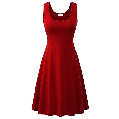 bd9904160ab6 Herou Women's Sleeveless Midi Dress Casual Tank Striped Dress
