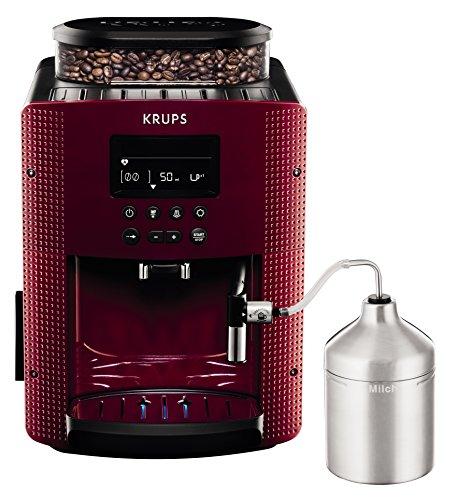 Krups Compact Cappucino EA8165 - Cafetera Superautomática 15 Bares, Pantalla LCD, 3 Niveles Intensidad de 20 ml a 220 ml, Programa de Limpieza y Descalcificación, Molinillo Integrado, Jarra Leche