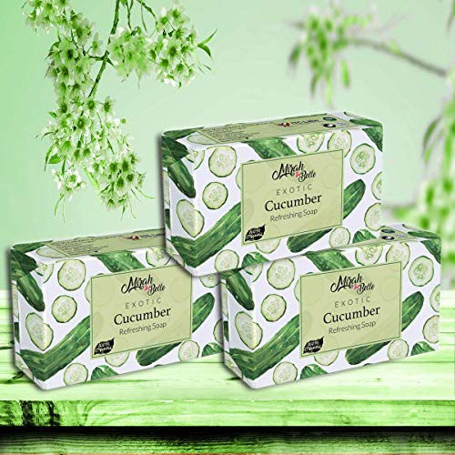 Mirah Belle - Cucumber Refreshing Soap (Pack of 3 - 125 GMS) - Skin Lightening and Brightening - Refreshes and Cools Skin - Handmade, Organic and Cruelty Free - 375 gm