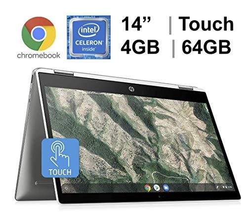 "2020 Newest HP 14"" x360 2-in-1 HD Touch-Screen Convertible Chromebook, Intel Celeron N4000, 4GB Memory, 64GB eMMC + Oydisen 32GB SD Card, WiFi, Webcam, Bluetooth 5, Chrome OS (Google Classroom Ready)"