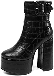 Elastic Platform Women's Boots, Block Chunky Heel Zipper Round Toe Pull on Ankle Booties
