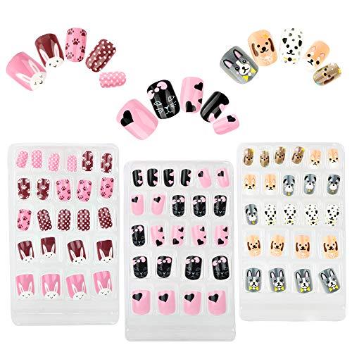 FLOFIA 72 Stk Künstliche Nägel Zum Aufkleben Kinder falsche Fingernägel Selbstklebend Kunstnägel Fake Nails zum aufkleben für Mädchen Damen