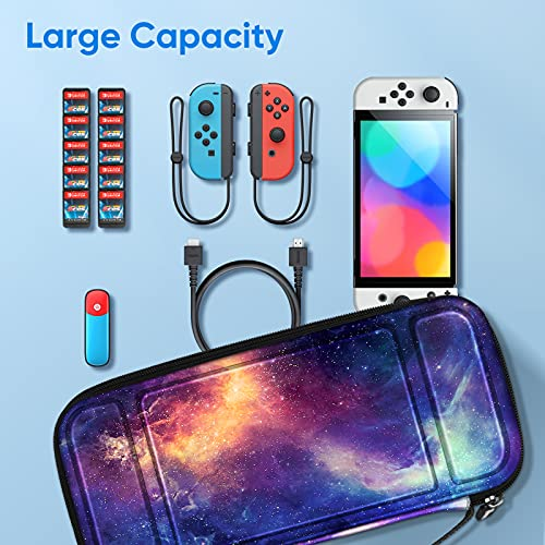Fintie Carry Case for Nintendo Switch OLED Model 2021/Switch 2017 - [Shockproof] Hard Shell Protective Cover Travel Bag w/10 Game Card Slots for Switch Console Joy-Con & Accessories, Galaxy