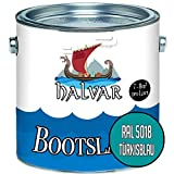 Halvar Bootslack Blau RAL 5000-5024 Yachtlack GLÄNZEND Bootsfarbe Yachtfarbe PU-verstärkt für Holz & Metall verstärkt extrem belastbar hochelastisch Schiffslackierung (1 L, RAL 5018 Türkisblau)