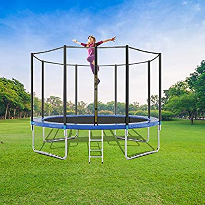 WASAKKY Trampoline for Kids and Adult - 12ft Kids Trampoline with Trampoline Accessories: Trampoline Ladder, Safety Trampoline Net, Spring Cover Padding