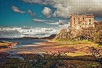 大人のためのジグソーパズル英国イングランドスカイ島ダンビーガンキャッスルパズル1000ピース木製旅行のお土産