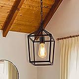 Cerdeco 18710BK Vintage Foyer Lantern, 1-Light Pendant Light, Matte Black [UL Listed]