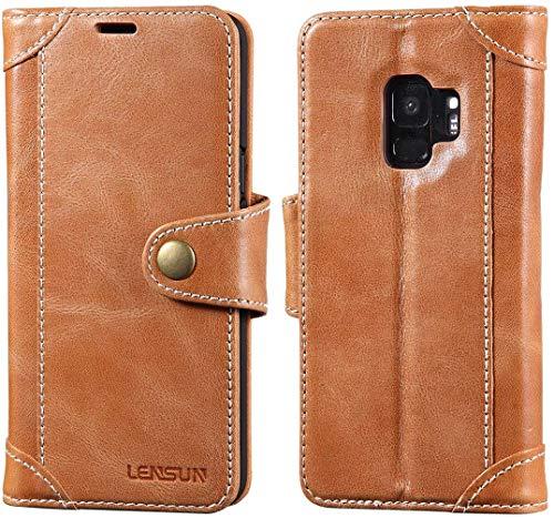 Preisvergleich Produktbild LENSUN Handyhülle für Samsung Galaxy S9 Echtleder Handytasche mit Magnetverschluss Kartenfächern Flip Case Schutzhülle Ledertasche Braun (GT-S9-BN)