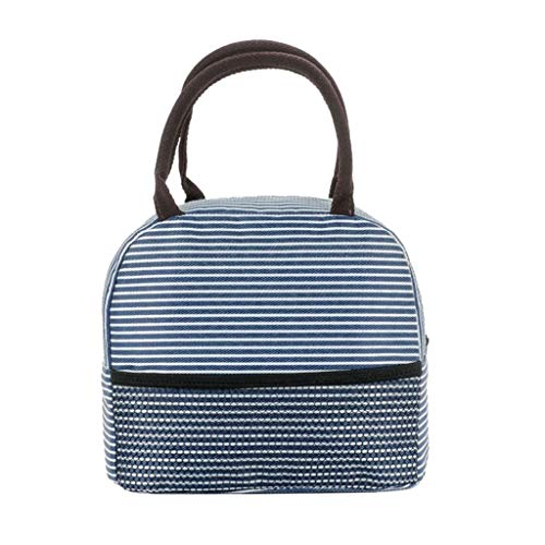 Portable Stripe Lunch Bag Thermal Canvas Food Container Tote Handbag Lunch Bags Navy