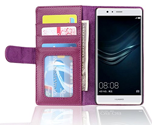 Cadorabo Hülle für Huawei P9 - Hülle in Bordeaux LILA – Handyhülle mit 3 Kartenfächern - Case Cover Schutzhülle Etui Tasche Book Klapp Style