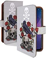 iPhone 12 mini ケース 手帳型 携帯ケース スカル ローズ ガイコツ 白 おしゃれ アイフォン アイフォーン アイホン ミニ スマホケース iPhone12mini iPhone12 12mini スカル柄 カメラレンズ全面保護 カード収納付き 全機種対応 t0838-01726