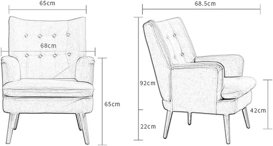 Coton Moderne Linge Tissu Fauteuil Baignoire Chaise D'appoint avec Pieds en Bois Massif, Bois Massif Lazy Canapé Chaise pour Salon Chambre Réception Contemporaine,C A