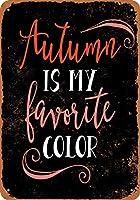 8 x 12 cm メタル サイン - 秋は私の好きな色 (黒背景) メタルプレートブリキ 看板 2枚セットアンティークレトロ