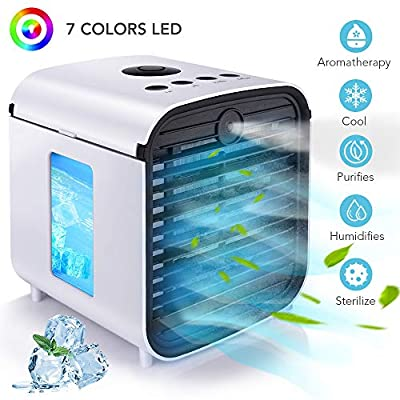 Hisome Portable Air Cooler, 4 in 1 Small Air Conditioner Cooler and Humidifier, Purifier and Aroma Diffuser, 3 Fan Speeds, 7 LED Lights Air Cooling Fan for Home Office
