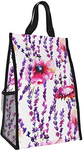 Bolsa de aislamiento plegable, bolsa de almuerzo portátil de flor púrpura, bolso de picnic de gran capacidad para viajes de oficina de trabajo