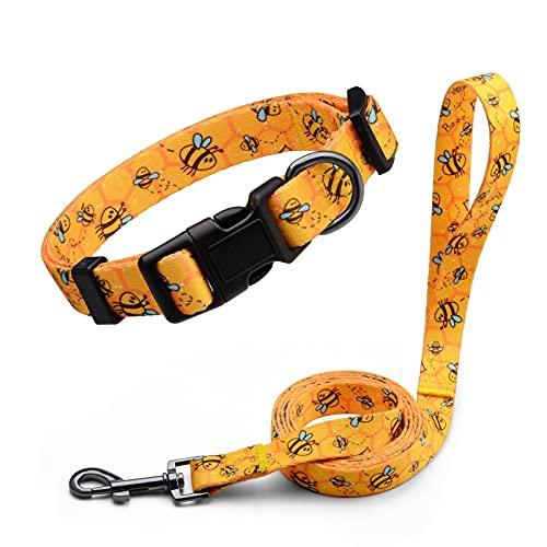 Anbeer Collares Ajustable y Correa 150cm para Perros Grandes, Medianos y Pequeños Entrenamiento Caminar Al Aire Libre (Abeja-M)