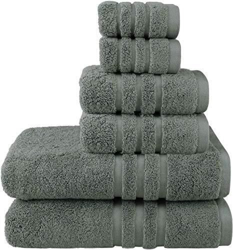 Josmon Towel Sets, Bath Towels Set 6 Pieces for Bathroom, Luxury Highly Absorbent Hotel Spa Gym 2 Bath Towels 2 Hand Towels 2 Washcloths (Grey-Green)
