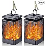 Solar Lantern Lights Dancing Flame Waterproof Outdoor Hanging Lantern Solar Powered Umbrella LED Night Lights Dusk to Dawn Auto On/Off Landscape Decorative for Garden Patio Deck Yard Path 2 Pack