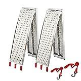 gardhom Rampe de Chargement Pliable, en Aluminium, Antidérapante, pour Motos, Quads, Voitures, Remorques - Rampe, Rails d'Accès (Lot de 2 Rampe)