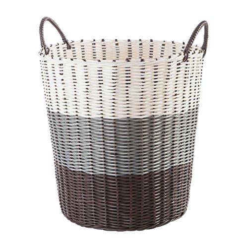Heding Dirty Clothes Storage Basket, Retro Style PVC Bathroom Home Storage Basket, Multi-purpose, Multi-spec (Color : Yellow, Size : L)