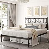 Allewie Queen Size Modern Platform Bed Frame with Vintage Headboard, 14 Inches Metal Mattress Foundation with Storage, No Box Spring Needed, Easy Assembly, Black