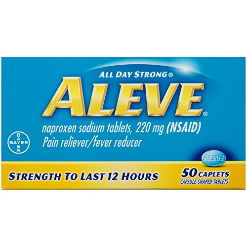 Aleve Caplets with Naproxen Sodium, 220mg (NSAID) Pain Reliever/Fever Reducer, 50 Count