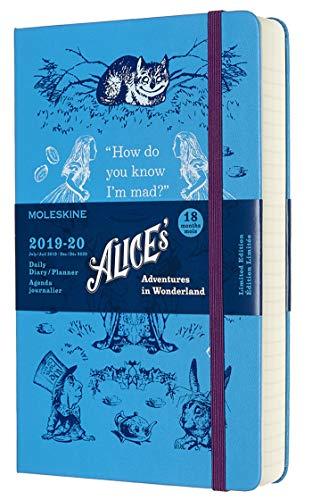 Moleskine Alice's Adventures in Wonderland - Agenda Giornaliera 18 mesi, Edizione limitata, 2019/2020 con copertina rigida, 608 Pagine, Blu, Large 13 x 21 cm