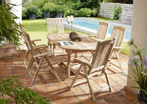 7 teilige Gartengruppe Aruba, 6 x Hochlehner Solo, Garten-Möbel aus Teak-Holz, Garten-Set aus Massivholz, Garten-Tisch Esstisch mit Schirmloch, Ausziehtisch 180 – 240 x 100 cm