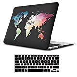 iLeadon MacBook Pro 15 Inch Case with Retina Display 2012-2015 Release Model A1398 Rubberized Hard Shell Cover+Keyboard Cover for MacBook Pro 15' Retina Non CD ROM, Black Map