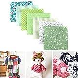 Costura de tela de algodón plana, tela de edredón para coser a mano, bolsa cuadrada acolchada, ilustraciones de álbumes de recortes impresas con rayas florales para tela de patchwork ( Color : Green )